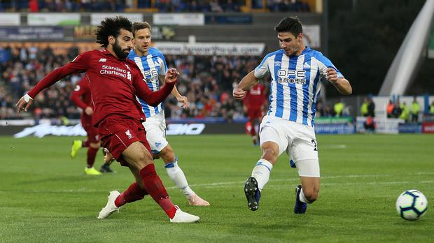 Mo Salah scores what proved to be the winner at Huddersfield (Richard Sellers/PA)