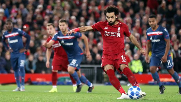 Mohamed Salah has reached 50 goals for Liverpool more quickly than any other player (Martin Rickett/PA)