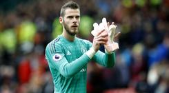 David De Gea says he is focusing on his football and not contract talks at Manchester United (Martin Rickett/PA)