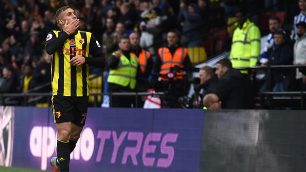 Watford's Gerard Deulofeu celebrates scoring his side's second goal of the game during the Premier League match at Vicarage Road, Watford.