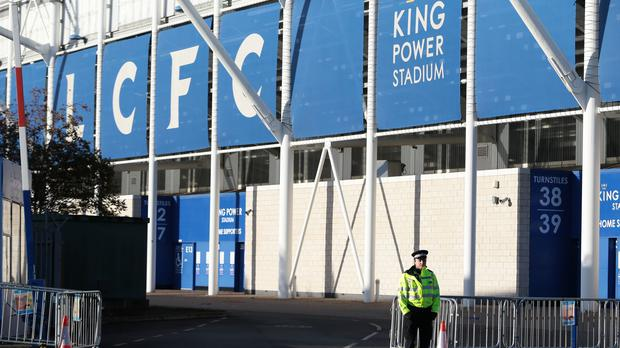 A police officer outside Leicester City Football Club (Aaron Chown/PA)