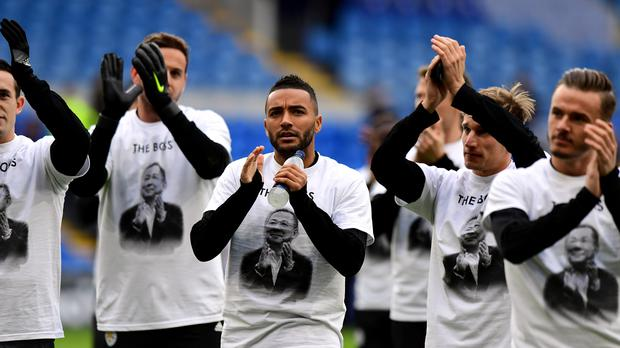 Leicester City's Danny Simpson (centre) wears a Vichai Srivaddhanaprabha shirt (Simon Galloway/PA)