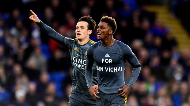 Demarai Gray celebrates scoring for Leicester and unveils a t-shirt tribute to the club's late owner Vichai Srivaddhanaprabha (Simon Galloway/PA)