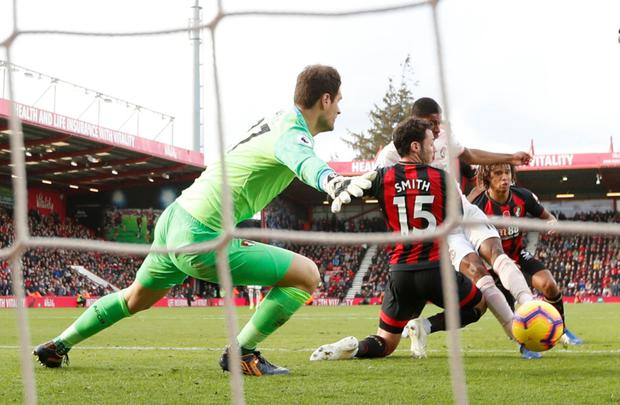 Manchester United's Marcus Rashford scores their last-gasp winner against Bournemouth at the Vitality Stadium yesterday. Photo: John Sibley