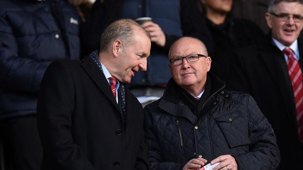 Les Reed, right, pictured with Southampton chairman Ralph Krueger (Andrew Matthews/PA)