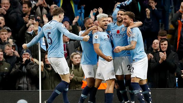Manchester City dealt a hefty blow to Manchester United's title hopes in Sunday's derby (Martin Rickett/PA)