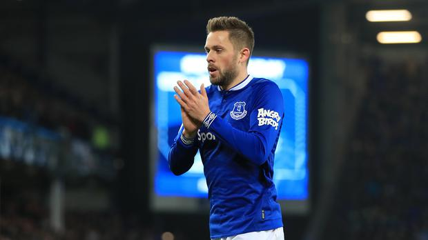 Gylfi Sigurdsson applauds the fans after his match-winning display (Peter Byrne/PA).