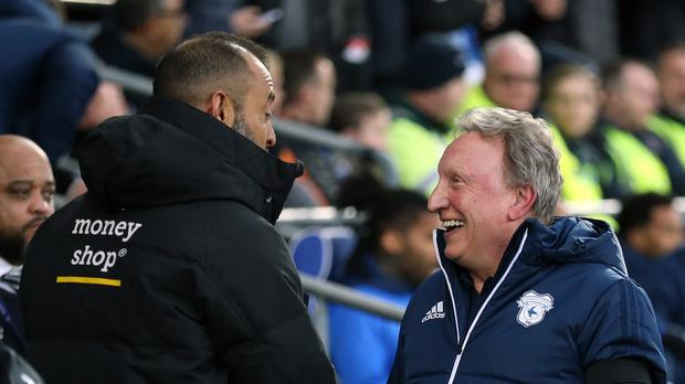 Cardiff manager Neil Warnock (right) says he has cleared the air with Wolves rival Nuno Espirito Santo after the pair fell out last season (Nigel French/PA)
