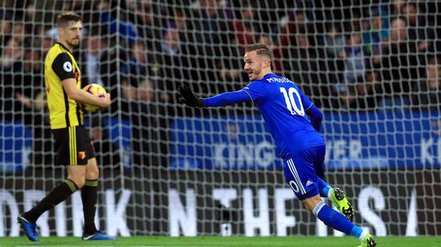 Leicester's James Maddison celebrates his goal in the win over Watford. (Mike Egerton/PA)
