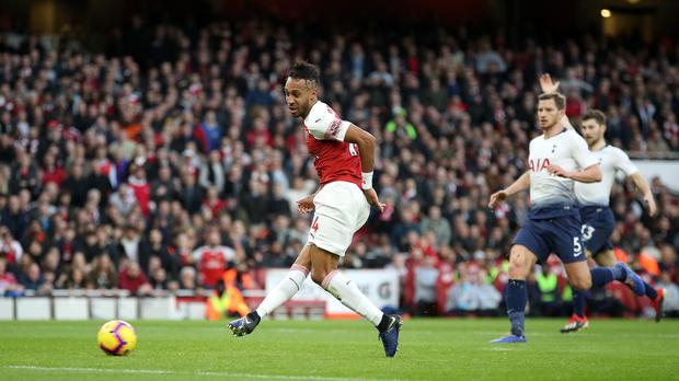 A banana skin was thrown from the stands as Pierre-Emerick Aubameyang celebrated (Nick Potts/PA)
