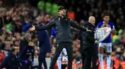 Liverpool manager Jurgen Klopp has tried to play down his celebratory run onto the pitch in their Merseyside derby victory (Peter Byrne/PA).