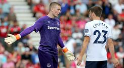 Everton defender Seamus Coleman has backed goalkeeper Jordan Pickford to bounce back from his Merseyside derby howler (Mark Kerton/PA).