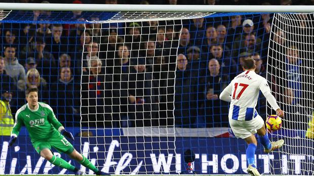 Brighton and Hove Albion's Glenn Murray scores his side's first goal of the game from the penalty spot during the Premier League match at the AMEX Stadium, Brighton.
