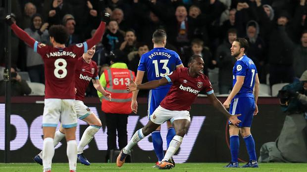 Michail Antonio was on target against Cardiff (Mike Egerton/PA)