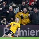 Diogo Jota celebrates his winner in Wolves' 2-1 victory over Chelsea (Nick Potts/PA)