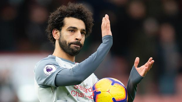 Mohamed Salah walked off with the match ball at Bournemouth (Mark Pain/PA)
