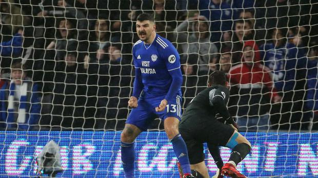 Callum Paterson celebrates after scoring Cardiff's winner against Southampton (Mark Kerton/PA)