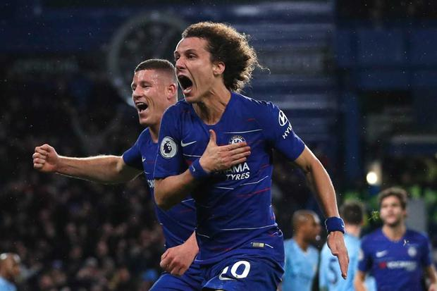 David Luiz scored the crucial second goal for Chelsea as Manchester City were beaten