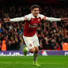 Lucas Torreira celebrates after scoring the winner for Arsenal. Photo: AFP/Getty