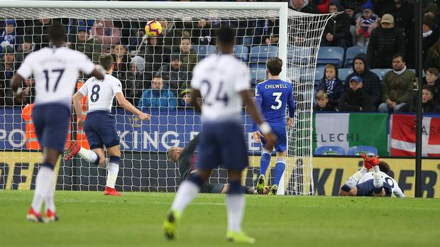 Dele Alli scored Tottenham's second in Saturday's 2-0 win over Leicester (Nigel French/PA)