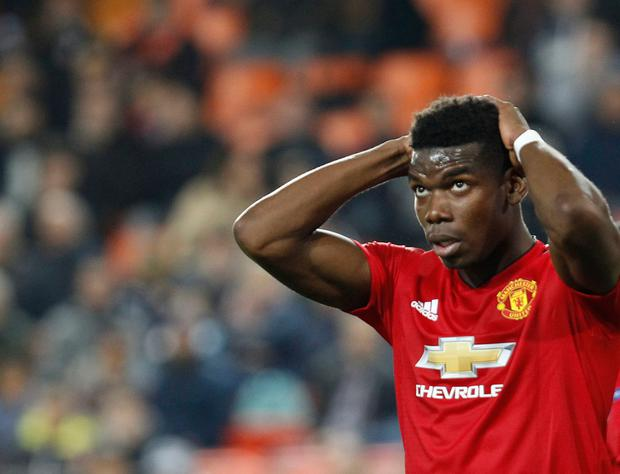 Manchester United's Paul Pogba reacts after missing a chance. Photo: AP