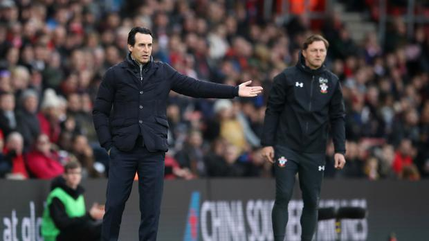 Unai Emery, left, suffered a rare defeat as Ralph Hasenhuttl enjoyed a dream start at St Mary's (Adam Davy/PA)