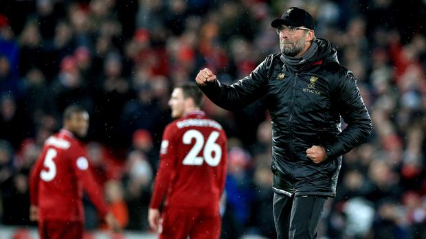 Liverpool manager Jurgen Klopp insists they are not thinking about title rivals Manchester City (Peter Byrne/PA)