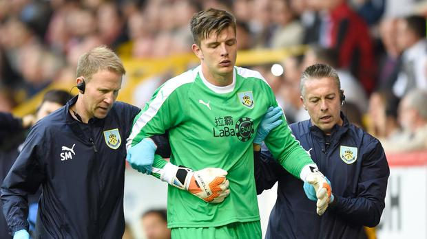 Nick Pope played his first Burnley match since dislocating his shoulder in July (Ian Rutherford/PA)