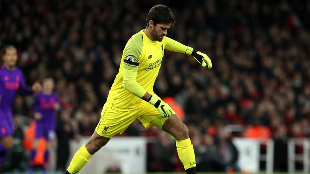 Liverpool goalkeeper Alisson Becker has made two mistakes which have led to goals (Jonathan Bradley/PA).