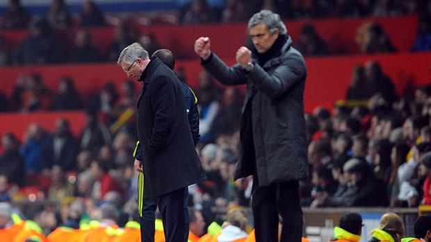 Jose Mourinho, right, was another manager tasked to follow the success of Sir Alex Ferguson, left, at Old Trafford. (Martin Rickett/PA Images)