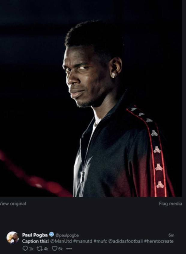 The picture which Pogba posted to his social media with 'Caption this' as the caption, minutes after Mourinho's sacking was confirmed. The marketing post had been scheduled and was deleted