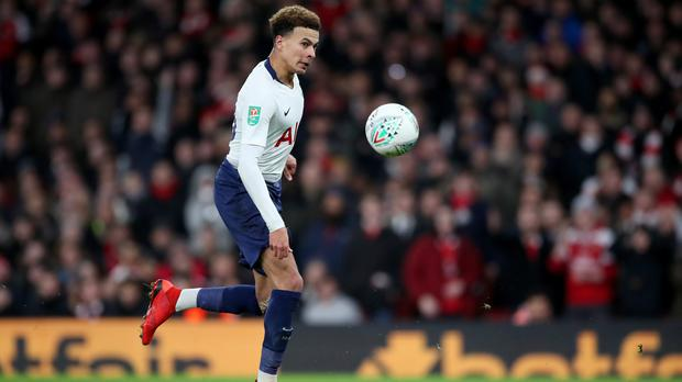 Dele Alli scored for Spurs but was later hit by a bottle thrown from the crowd (NickPotts/PA)