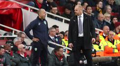 Sean Dyche, right, was unhappy with what he saw as play-acting by Arsenal (Jonathan Brady/PA)