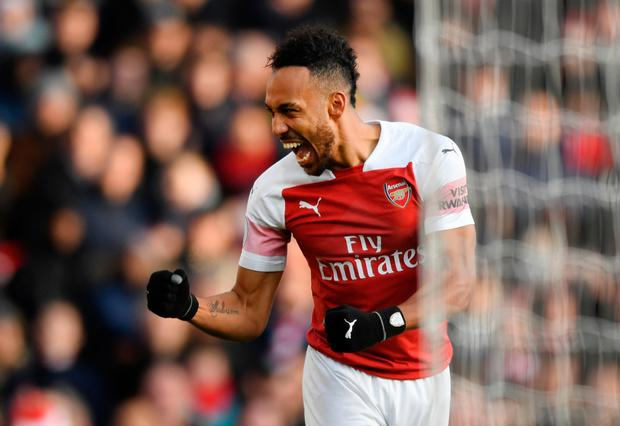 Pierre-Emerick Aubameyang celebrates one of his two goals for Arsenal against Burnley. Photo: Getty