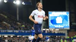 Tottenham Hotspur's Harry Kane celebrates scoring his side's sixth goal of the game during the Premier League match at Goodison Park, Liverpool.