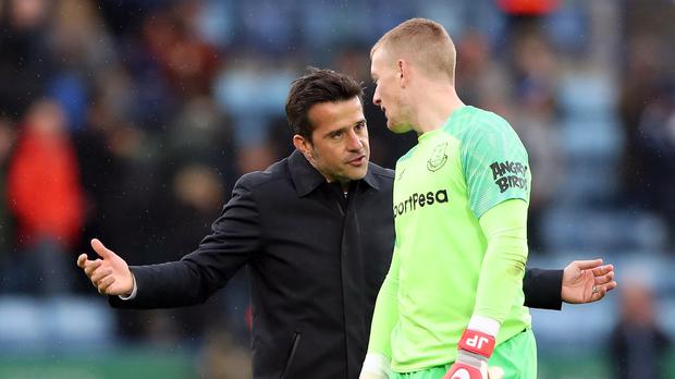 Marco Silva (left) insists not only goalkeeper Jordan Pickford (right) needs feedback on his recent performances (Nick Potts/PA)