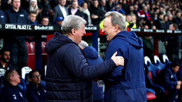 Roy Hodgson, left, and Cardiff manager Neil Warnock shake hands (Yui Mok/PA)