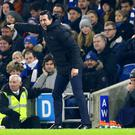 Arsenal manager Unai Emery kicked a water bottle into the crowd (Gareth Fuller/PA)