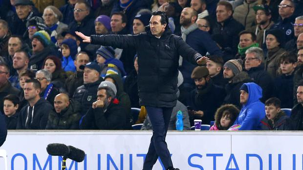 Unai Emery could face a touchline ban after kicking a water bottle into the fans at Brighton (Gareth Fuller/PA)