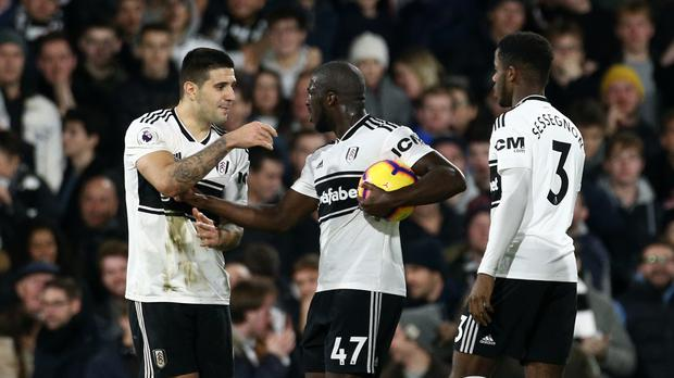 Fulham's Aboubakar Kamara (centre) insists he takes the club's penalty. He missed (Yui Mok/PA)