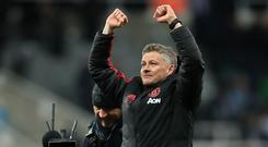 Manchester United interim manager Ole Gunnar Solskjaer reacts after the final whistle at St James' Park (Owen Humphreys/PA)