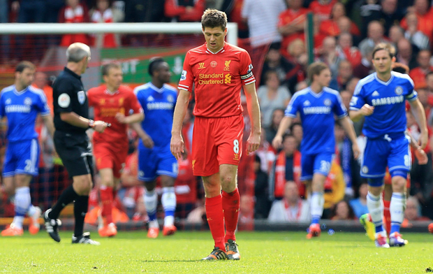 Steven Gerrard shows his dismay after his infamous slip against Chelsea in 2014