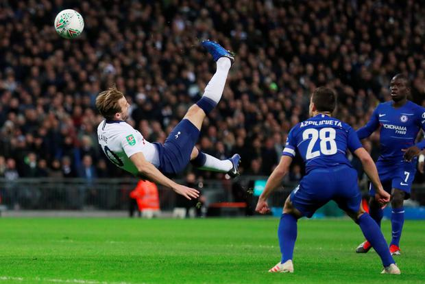 Flying high: Harry Kane gets in a shot with an overhead kick at Wembley. Photo: Action Images via Reuters
