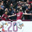 West Ham United's Declan Rice celebrates scoring his side's first goal of the game during the Premier League match at London Stadium.