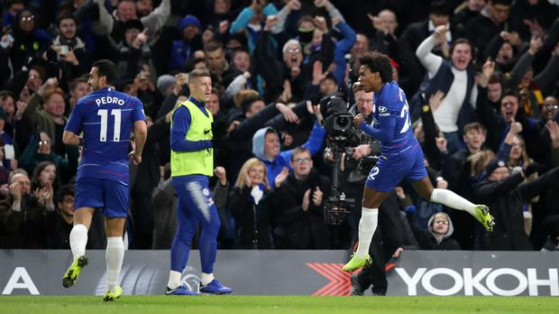Willian celebrates his goal in Chelsea's win over Newcastle (Adam Davy/PA)