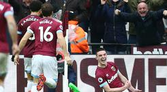 Declan Rice is off the mark for West Ham (Yui Mok/PA)