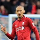 Jurgen Klopp hailed Fabinho for impressing out of position in central defence (Gareth Fuller/PA)