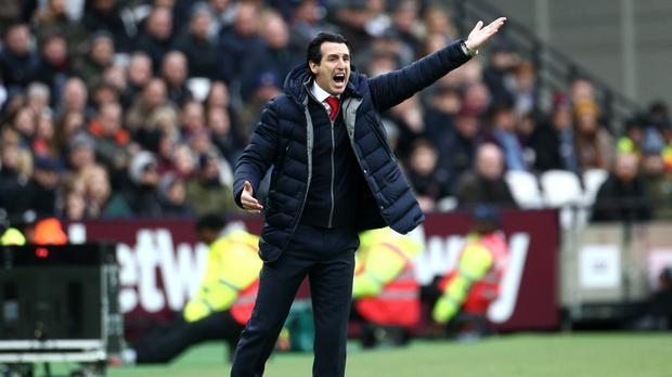 Unai Emery gestures on the touchline during the 1-0 defeat at West Ham (Yui Mok/PA)