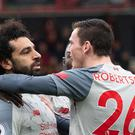 Liverpool's Mohamed Salah has the support of Andrew Robertson (Mark Pain/PA)