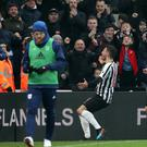 Newcastle United's Fabian Schar celebrates scoring his side's second goal of the game during the Premier League match at St James' Park, Newcastle.
